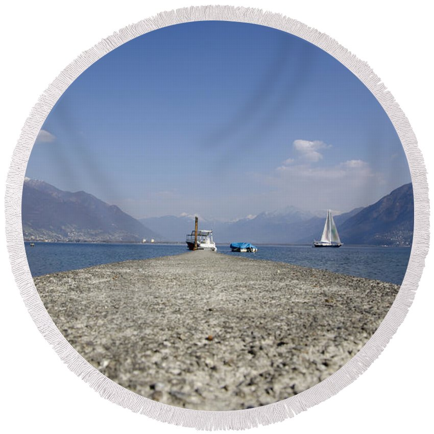 Port Round Beach Towel featuring the photograph Small Port by Mats Silvan