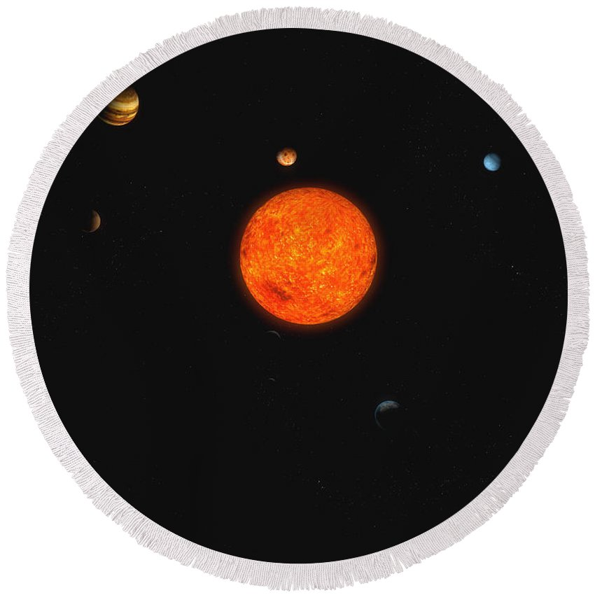 Horizontal Round Beach Towel featuring the digital art Solar System by Carbon Lotus