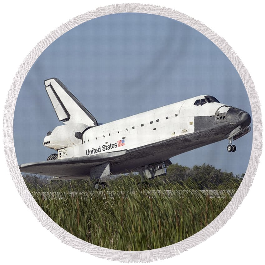 Florida Round Beach Towel featuring the photograph Space Shuttle Atlantis Touches by Stocktrek Images