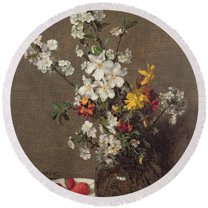 Spring Round Beach Towel featuring the painting Spring Bouquet by Ignace Henri Jean Fantin-Latour