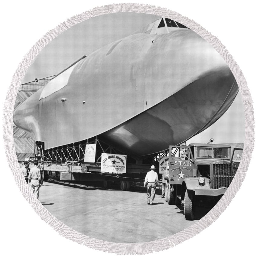1940's Round Beach Towel featuring the photograph Spruce Goose Hull On The Move by Underwood Archives
