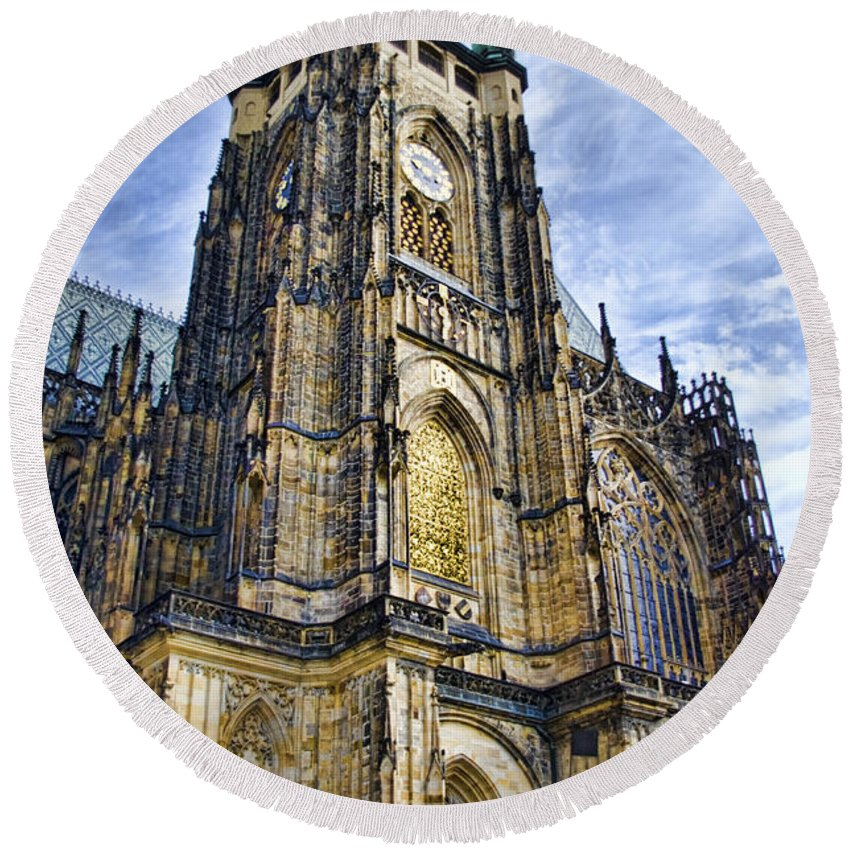 St Vitus Cathedral Round Beach Towel featuring the photograph St Vitus Cathedral - Prague by Jon Berghoff