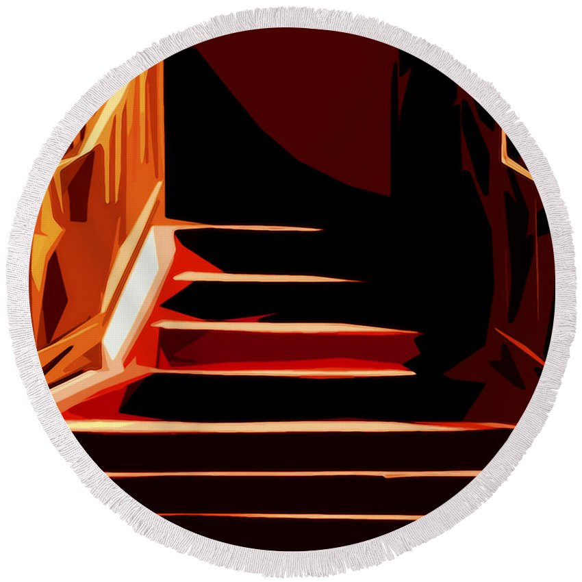 Stairs Round Beach Towel featuring the photograph Stairs At Palace Avenue by Terry Fiala