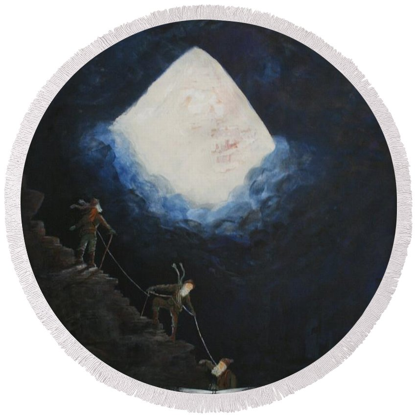 Climbers Round Beach Towel featuring the painting Stairway To Heaven by William Bezik