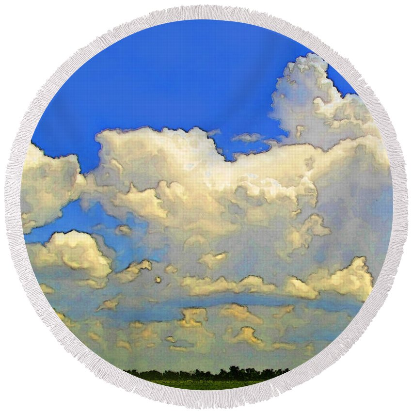 Nature Round Beach Towel featuring the photograph Storm Clouds Rising Art by Debbie Portwood