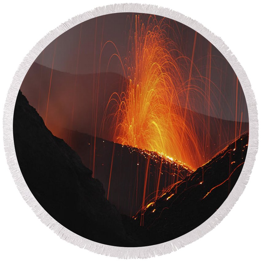 No People Round Beach Towel featuring the photograph Stromboli Eruption, Aeolian Islands by Martin Rietze