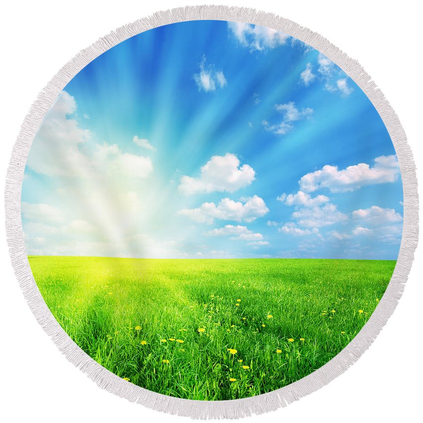 Agriculture Round Beach Towel featuring the photograph Sunny Spring Landscape by Michal Bednarek