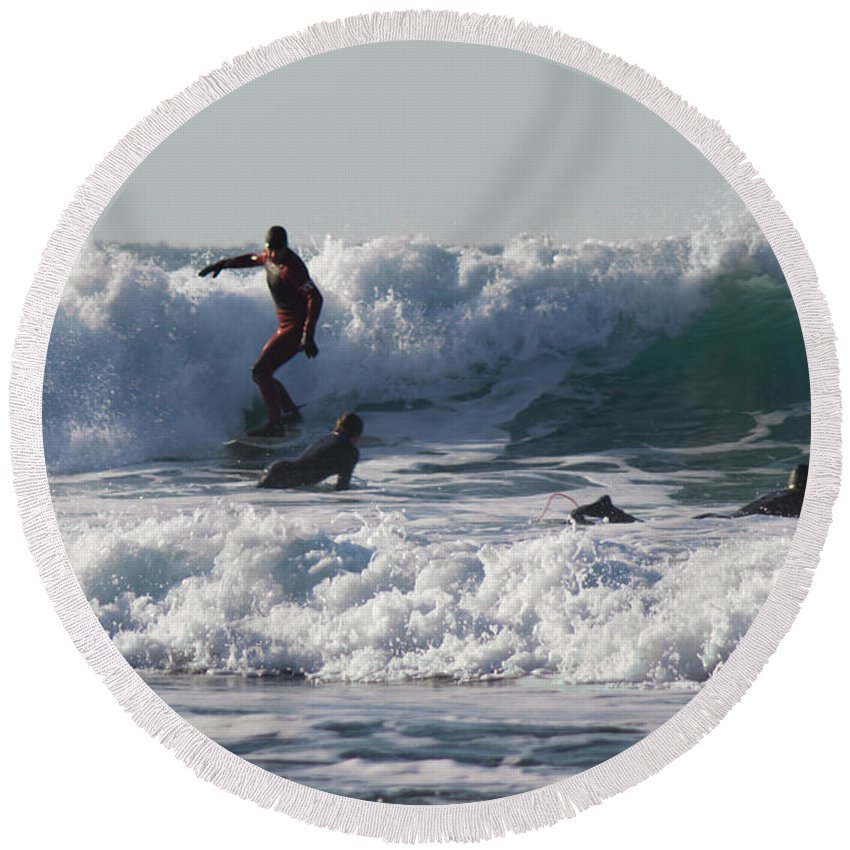 Cornish Seascape Round Beach Towel featuring the photograph Surfers At Porthtowan Cornwall by Brian Roscorla