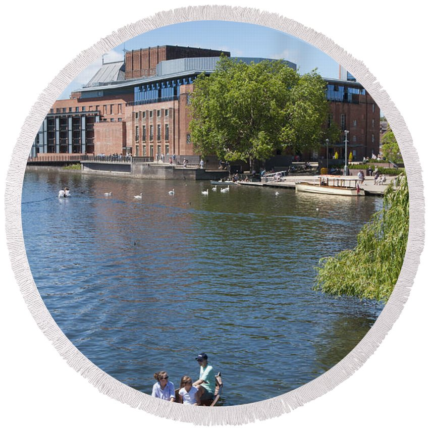 2011 Round Beach Towel featuring the photograph Swan Theatre by Andrew Michael