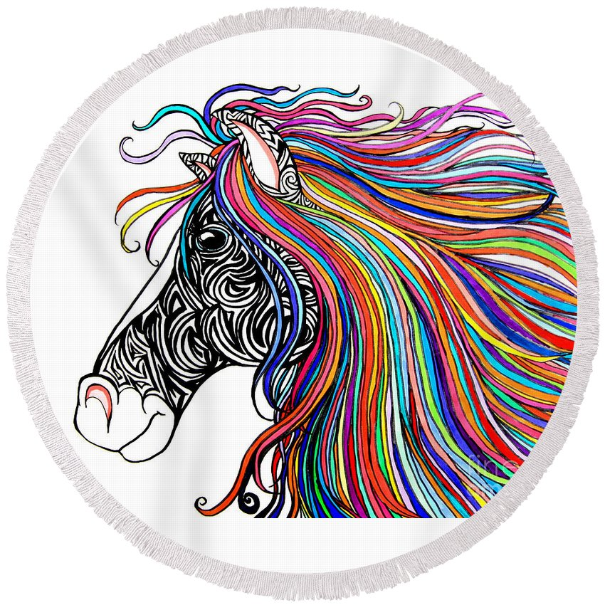 Tattooed Horse Round Beach Towel featuring the drawing Tattooed Horse by Nick Gustafson