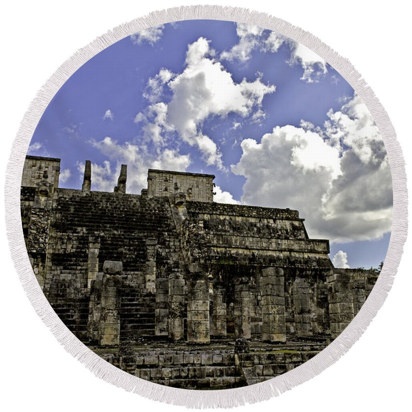 Chichen Itza Round Beach Towel featuring the photograph Temple Of The Warriors by Ken Frischkorn