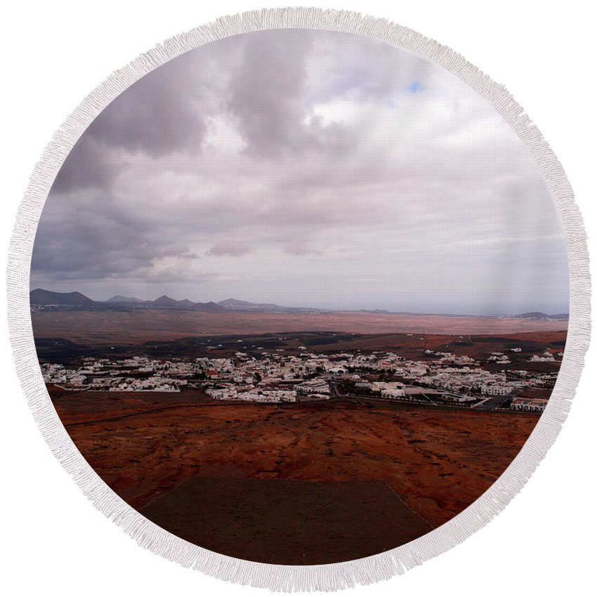 Canary Islands Round Beach Towel featuring the photograph Tequise From Guanapay Castle by Jouko Lehto