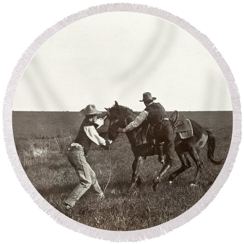 1908 Round Beach Towel featuring the photograph Texas: Cowboys, C1908 by Granger