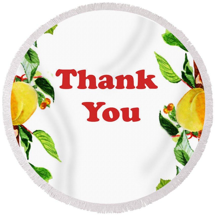 Thank-you Round Beach Towel featuring the painting Thank You Card  by Irina Sztukowski