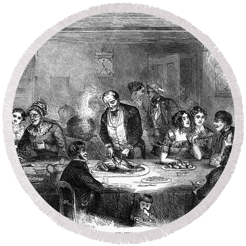 1850 Round Beach Towel featuring the photograph Thanksgiving Dinner, 1850 by Granger