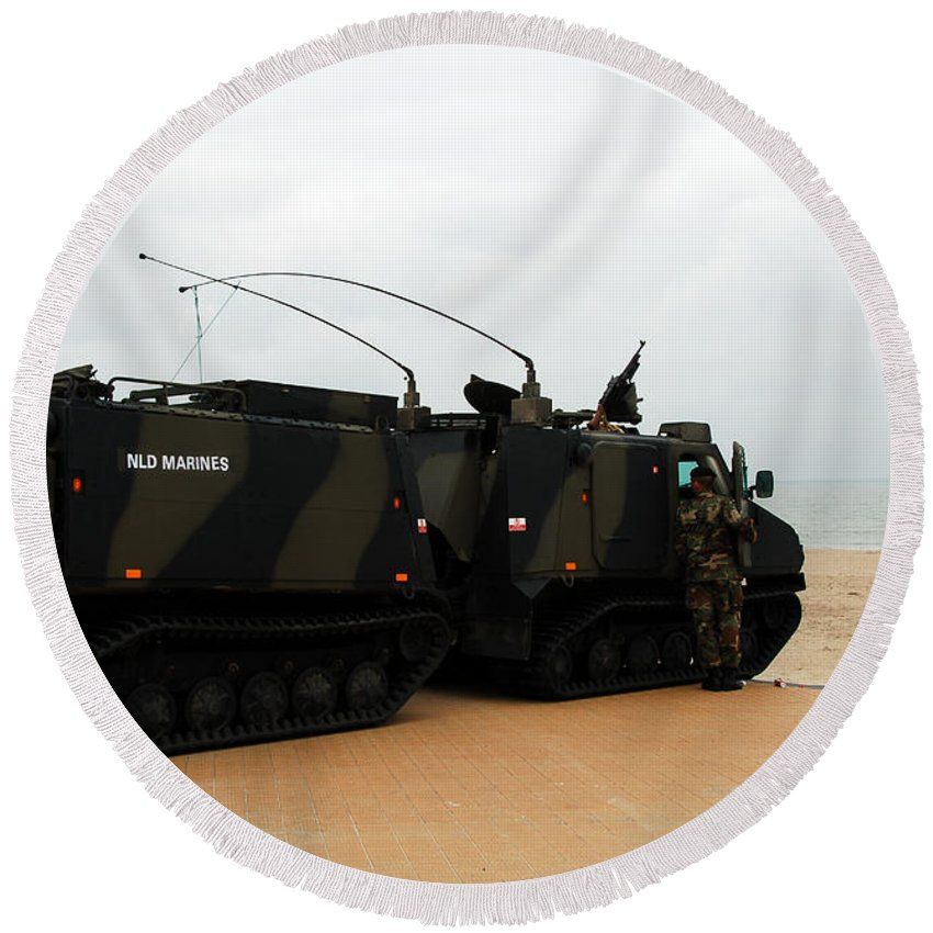 Military Round Beach Towel featuring the photograph The Bandvagn Bvs10 Viking Used by Luc De Jaeger