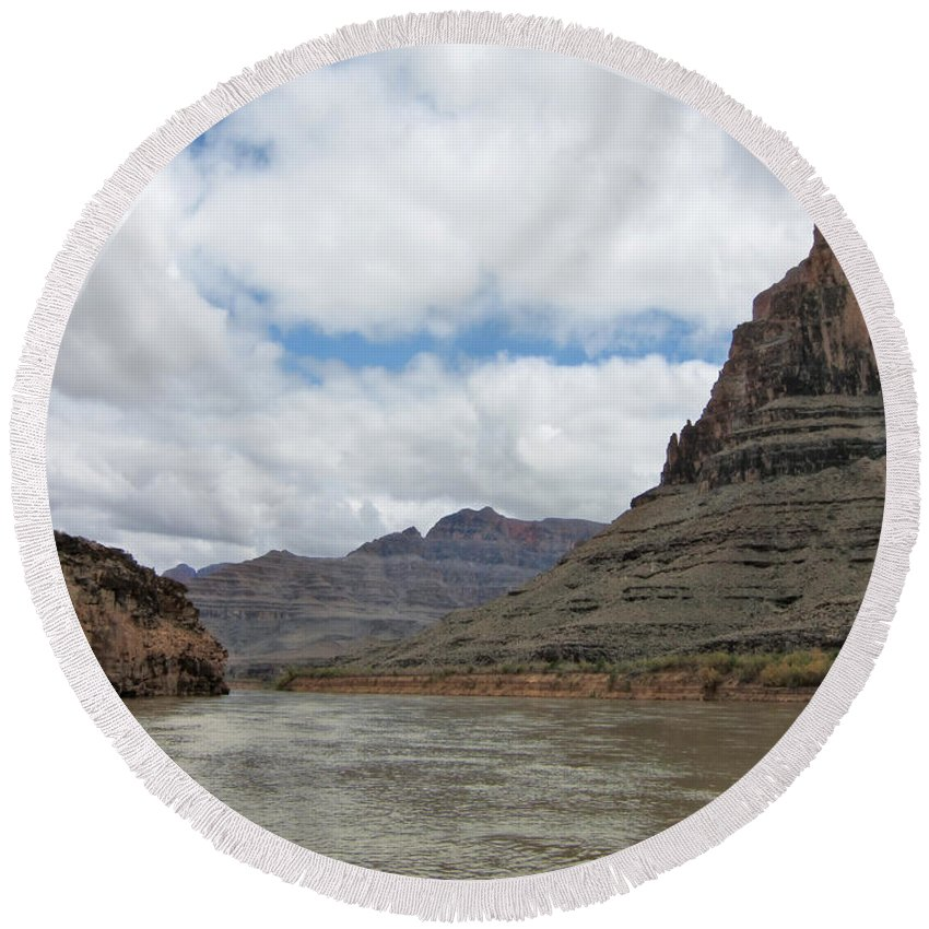 The Colorado River-a Grand Canyon Perspective Round Beach Towel featuring the photograph The Colorado River-a Grand Canyon Perspective II by Douglas Barnard