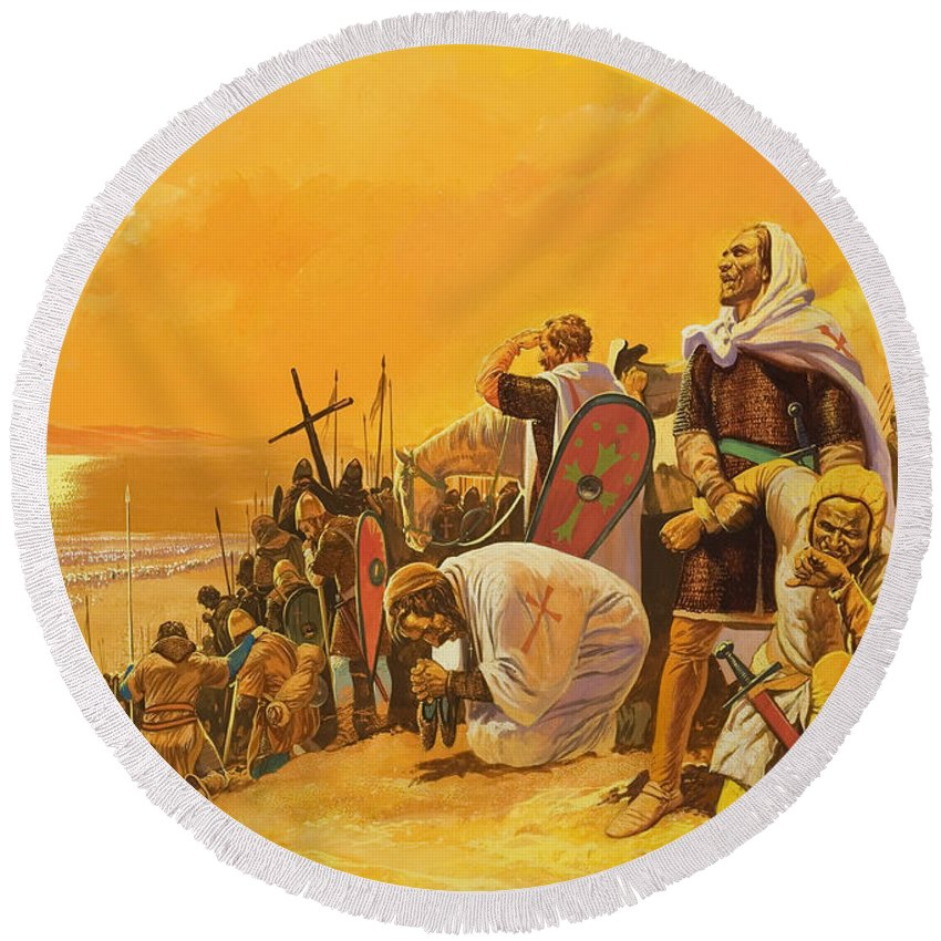 Orange; Soldier; Middle East; Heat; Sun; Cross; Christianity; Christendom; Suffering; Exhaustion; Water; Land; Desert; Shield; Armour; C11th; Croisades; Holy War; Arid; Parched; Harsh Conditions; Male; Children's Illustration Round Beach Towel featuring the painting The Crusades by Gerry Embleton