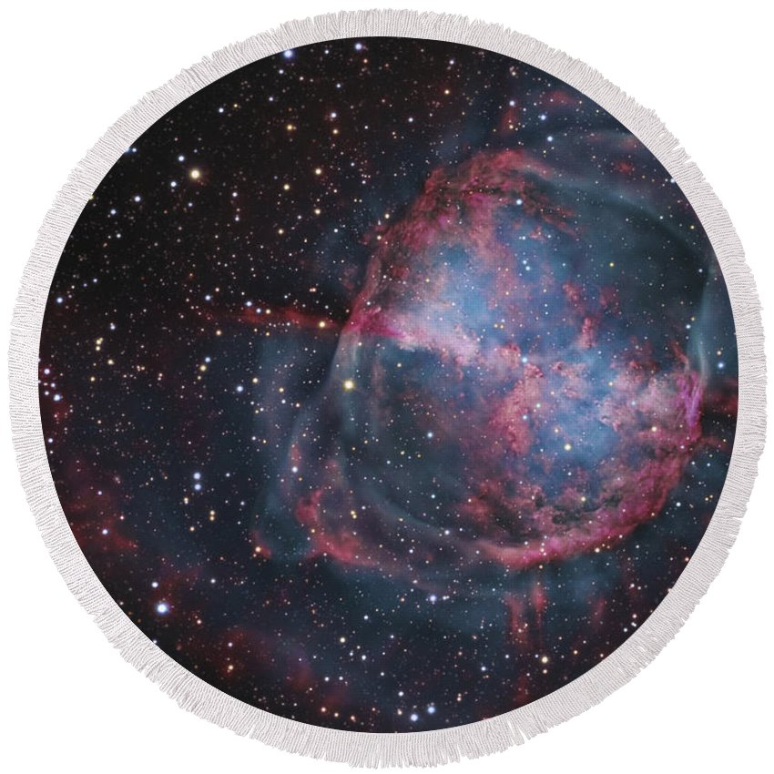 Deep Space Round Beach Towel featuring the photograph The Dumbbell Nebula by R Jay GaBany