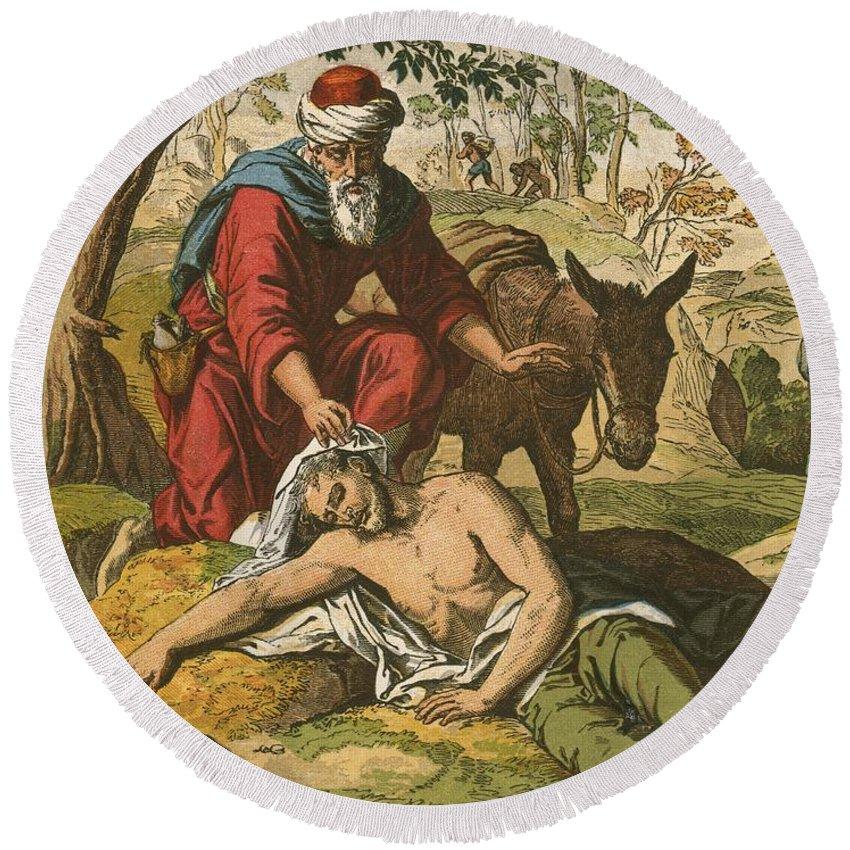 Jesus Christ; Bible; Life; Lessons; Good Samaritan; Parable Round Beach Towel featuring the painting The Good Samaritan by English School