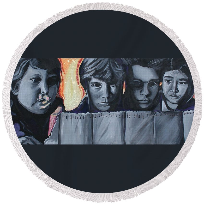 Round Beach Towel featuring the painting The Goonies by Kate Fortin