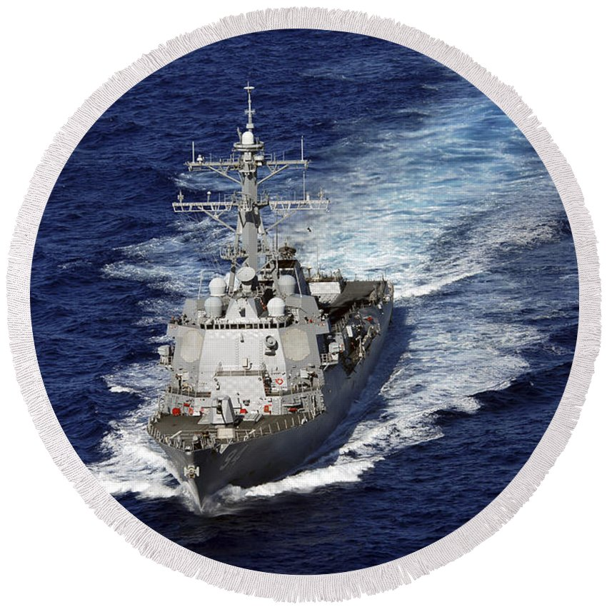 Us Navy Round Beach Towel featuring the photograph The Guided Missile Destroyer Uss Nitze by Stocktrek Images