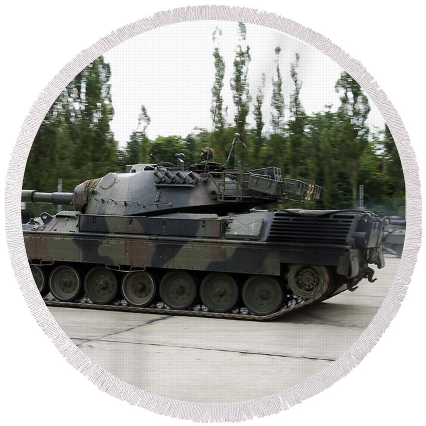Adults Only Round Beach Towel featuring the photograph The Leopard 1a5 Of The Belgian Army by Luc De Jaeger