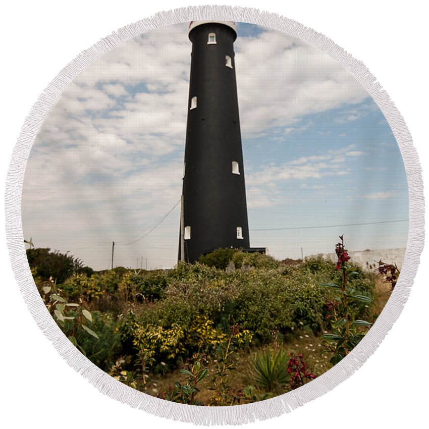 Boat Round Beach Towel featuring the photograph The Old Lighthouse by Dawn OConnor
