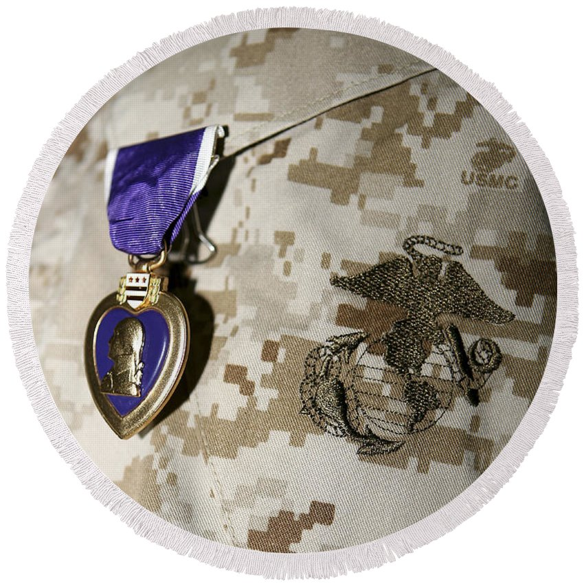 Camouflage Round Beach Towel featuring the photograph The Purple Heart Award by Stocktrek Images
