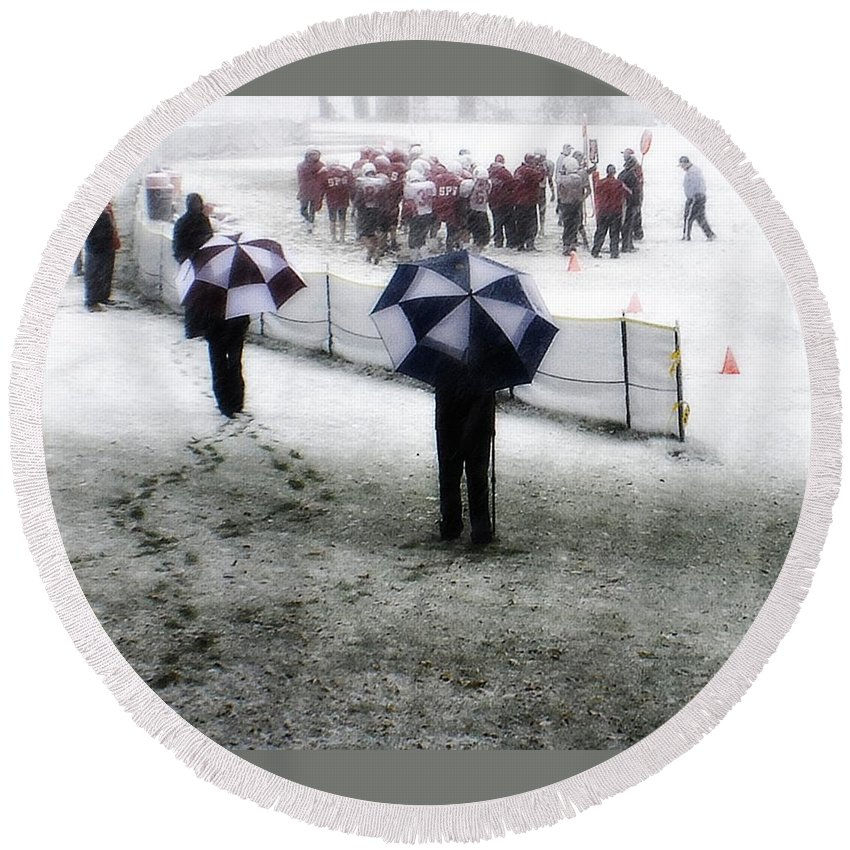 Groton School Round Beach Towel featuring the photograph The Snow Game by Marysue Ryan
