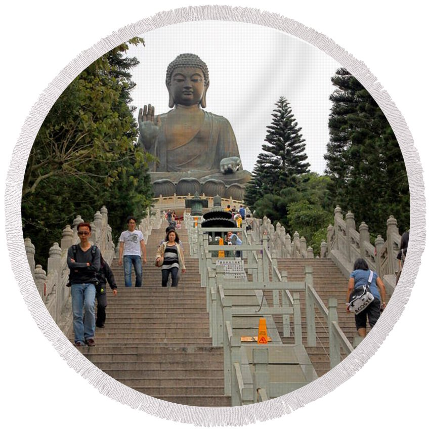 Tian Tan Round Beach Towel featuring the photograph Tian Tan Buddha by Valentino Visentini