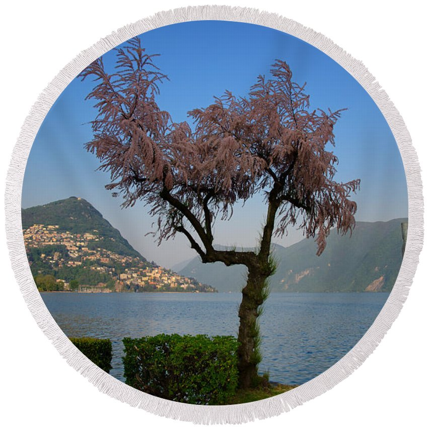 Lake Front Round Beach Towel featuring the photograph Tree And Mountain by Mats Silvan