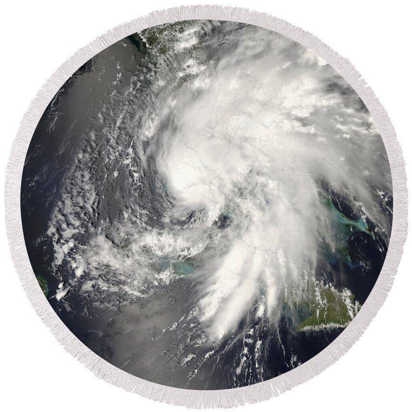 Circulating Round Beach Towel featuring the photograph Tropical Storm Fay by Stocktrek Images