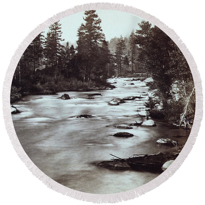Truckee Round Beach Towel featuring the photograph Truckee River - California - C 1865 by International Images