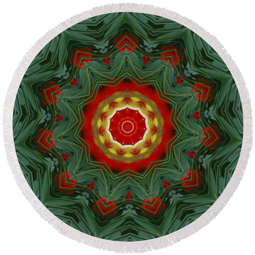 Kaleidoscope Round Beach Towel featuring the photograph Tulips 1 by Mark Gilman
