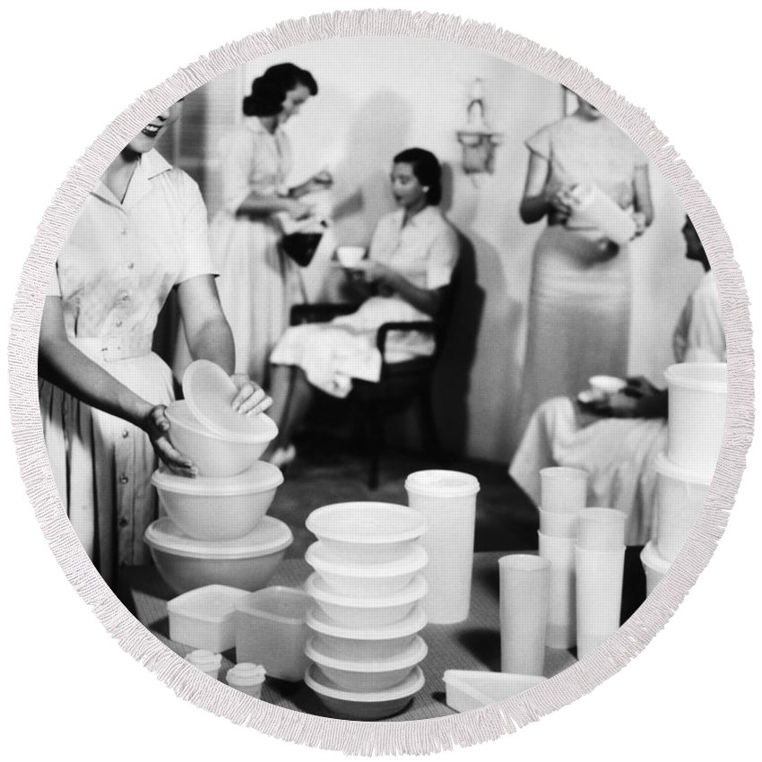 1950s Round Beach Towel featuring the photograph TUPPERWARE PARTY, 1950s by Granger