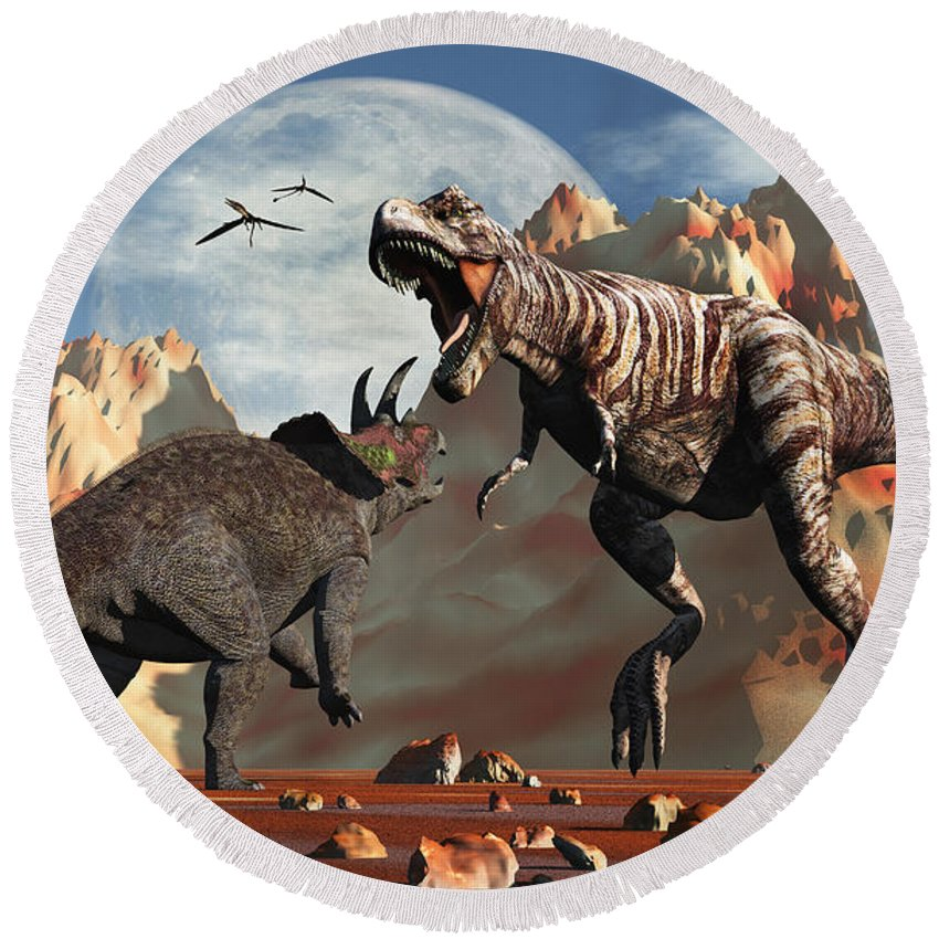 Horizontal Round Beach Towel featuring the digital art Tyrannosaurus Rex And Triceratops Meet by Mark Stevenson
