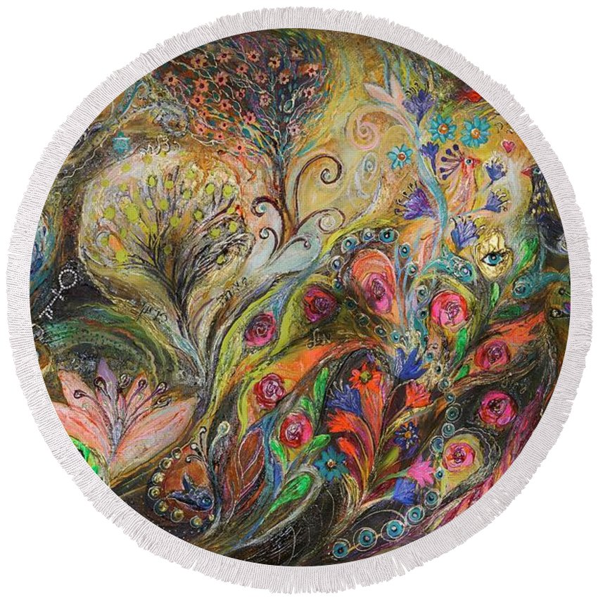 Judaica Round Beach Towel featuring the painting Under The Wind by Elena Kotliarker