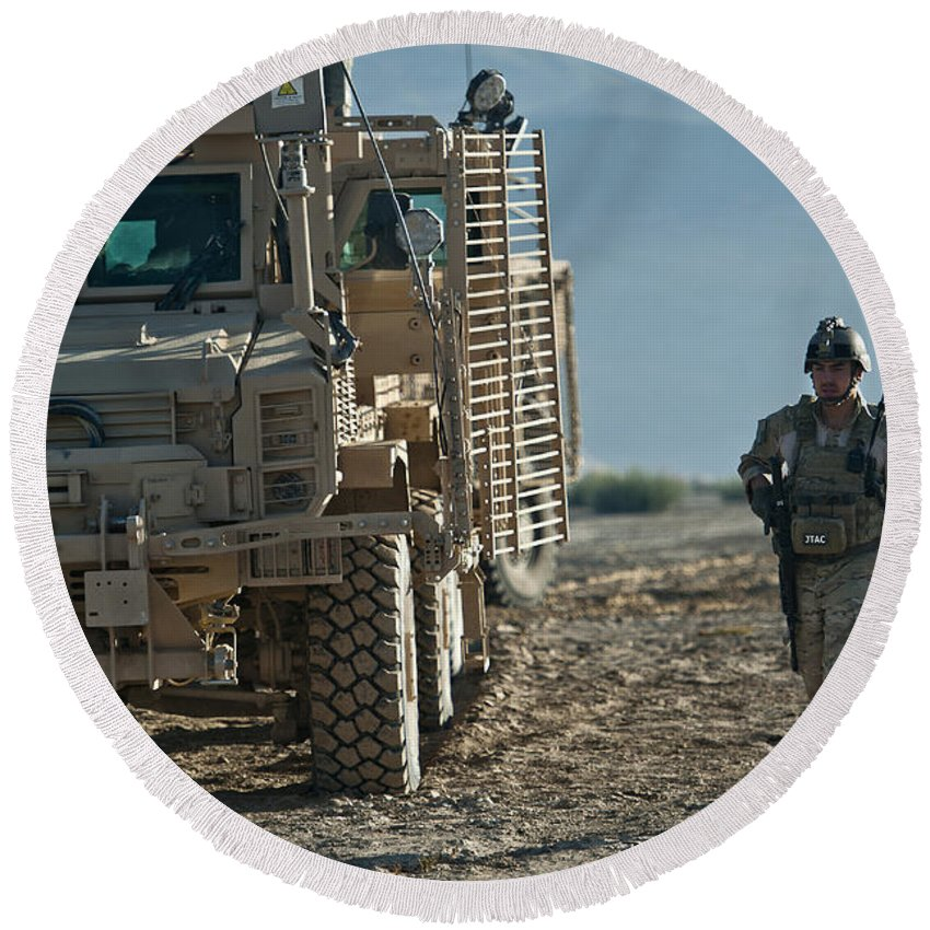 Mrap Round Beach Towel featuring the photograph U.s. Air Force Joint Terminal Attack by Stocktrek Images