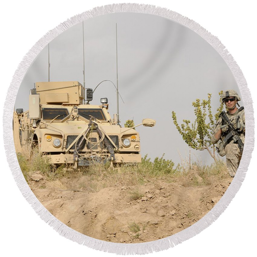 Afghanistan Round Beach Towel featuring the photograph U.s. Army Sergeant Provides Security by Stocktrek Images
