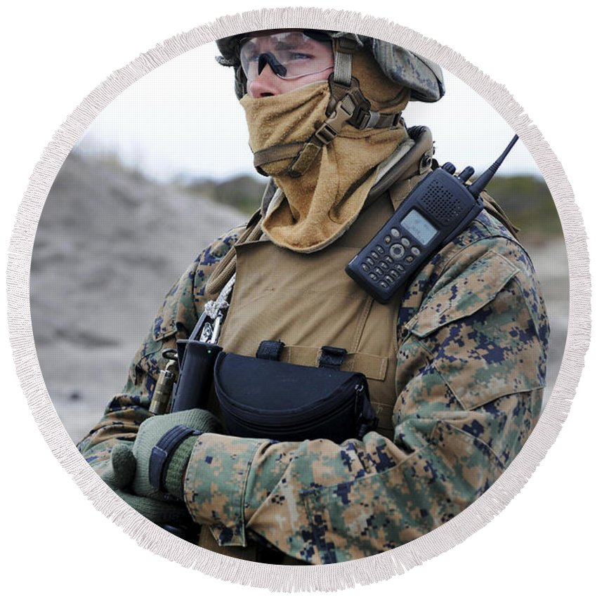 Safety Glasses Round Beach Towel featuring the photograph U.s. Marine Provides Security by Stocktrek Images