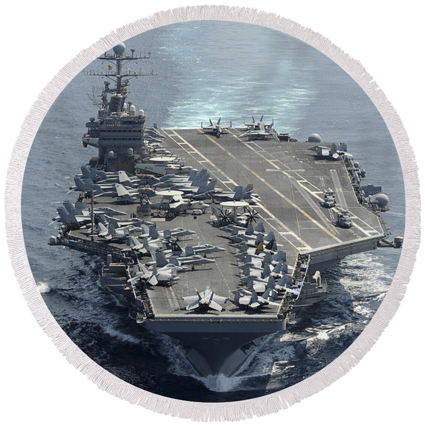 No People Round Beach Towel featuring the photograph Uss Abraham Lincoln Transits The Indian by Stocktrek Images