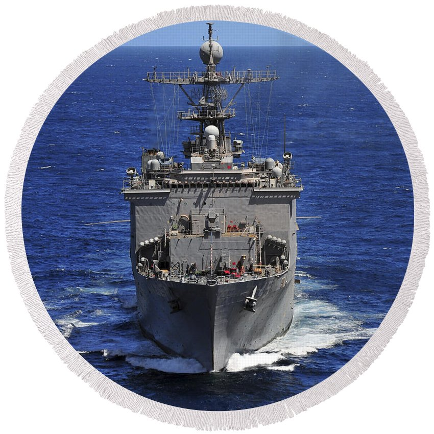 Uss Comstock Round Beach Towel featuring the photograph Uss Comstock Transits The Indian Ocean by Stocktrek Images