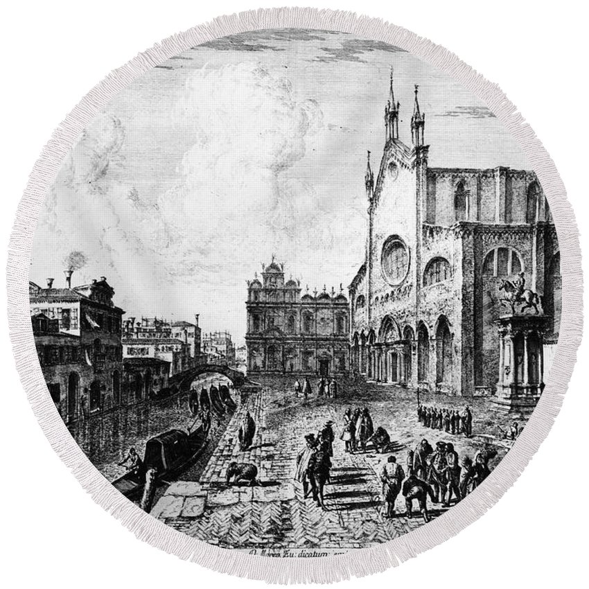 18th Century Round Beach Towel featuring the photograph Venice, 18th Century by Granger