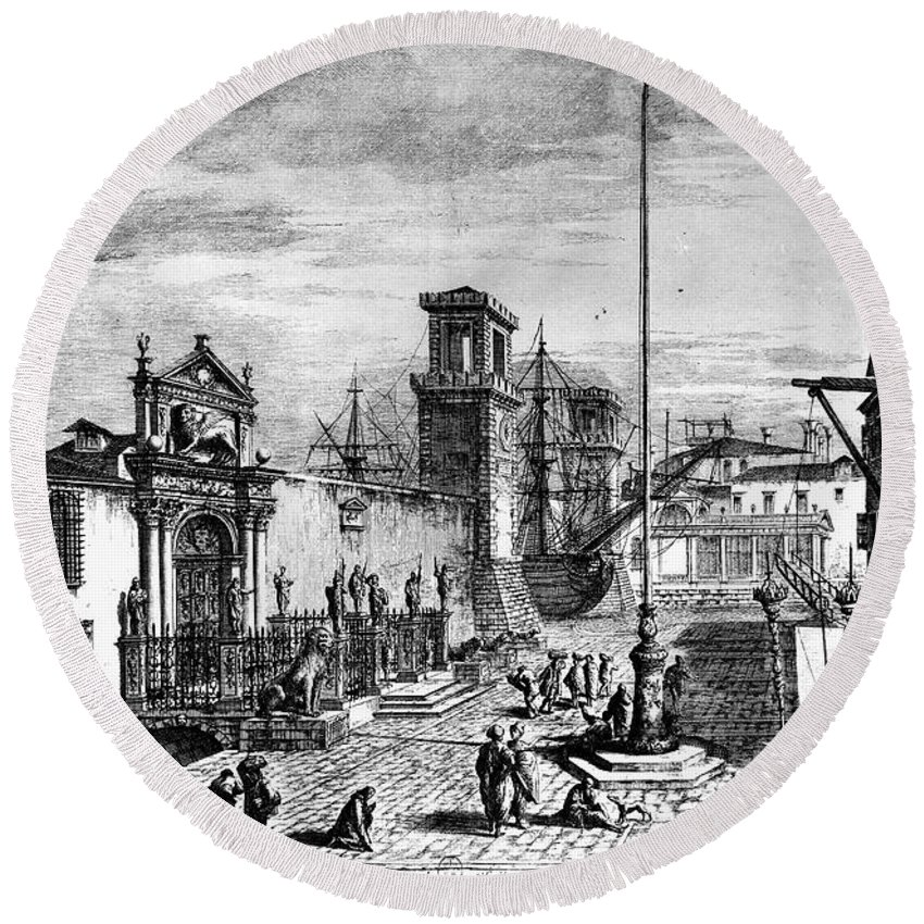 18th Century Round Beach Towel featuring the photograph Venice: Arsenale by Granger