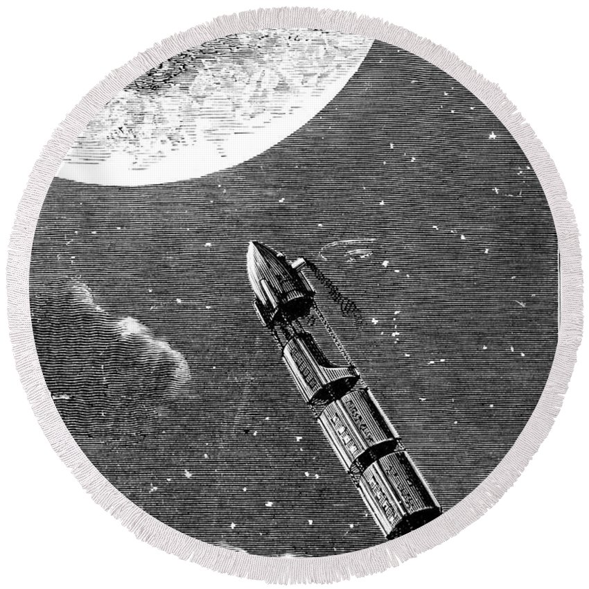 19th Century Round Beach Towel featuring the photograph Verne: From Earth To Moon by Granger