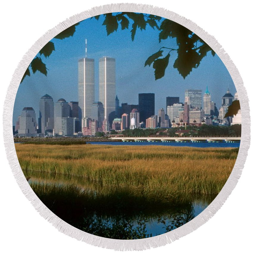 Nyc Round Beach Towel featuring the photograph View From Liberty State Park by Mark Gilman