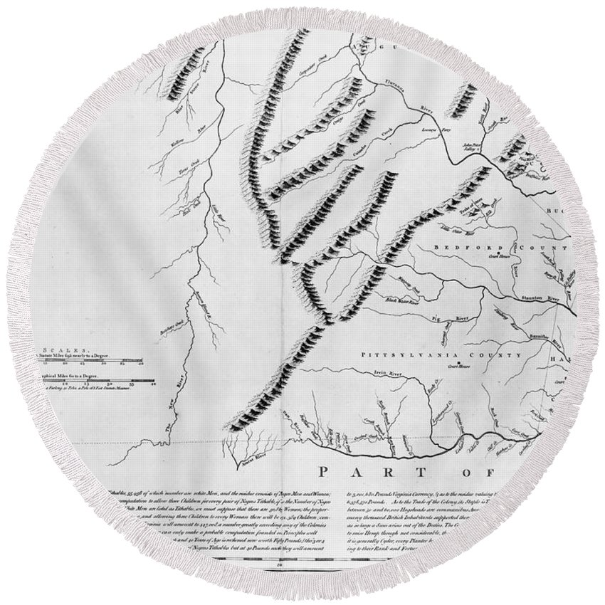1770 Round Beach Towel featuring the photograph Virginia: Henry Map, 1770 by Granger