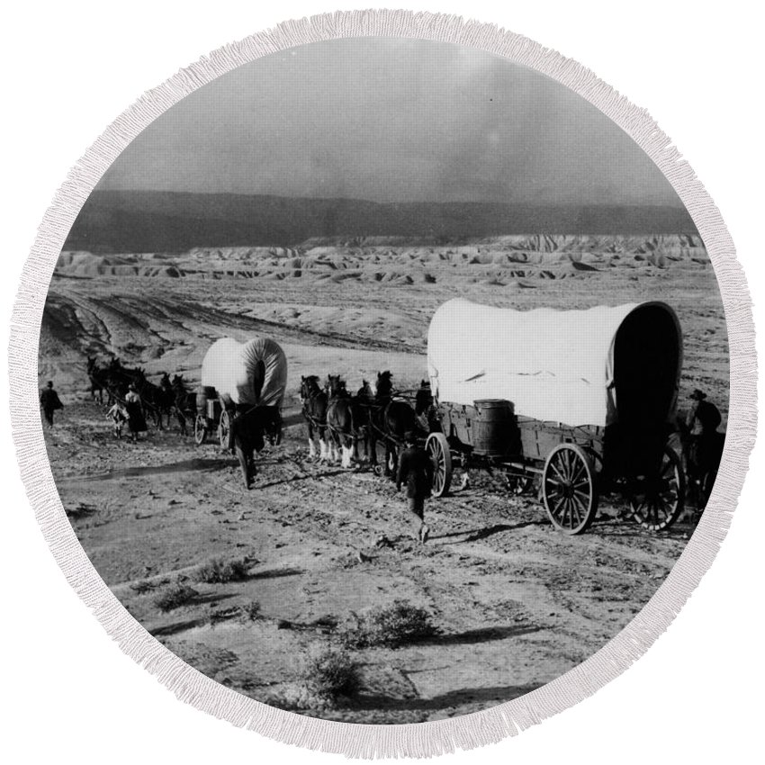 1930s Round Beach Towel featuring the photograph Wagon Train by Granger