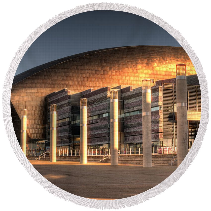 Wales Millenium Centre Round Beach Towel featuring the photograph Wales Millenium Centre by Steve Purnell